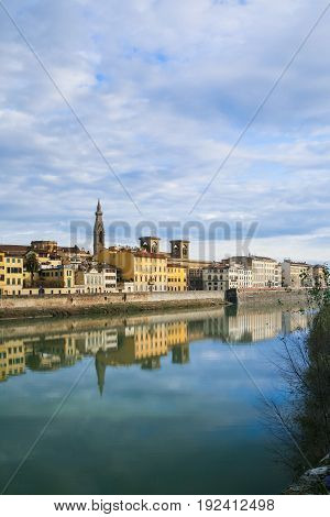 Arno River And Houses On Waterfront