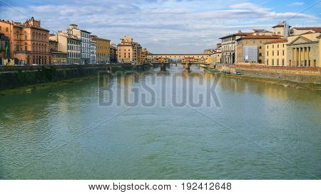 Panoramic View Of Arno River With Ponte Vecchio