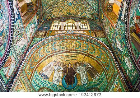 Ravenna Italy - March 1 2012: The mosaics of the San Vitale basilica