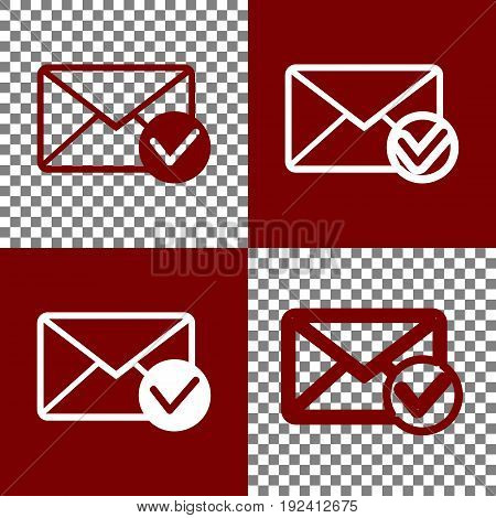Mail sign illustration with allow mark. Vector. Bordo and white icons and line icons on chess board with transparent background.