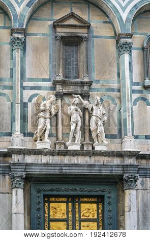 Statues Over Doors Of Baptistery In Florence