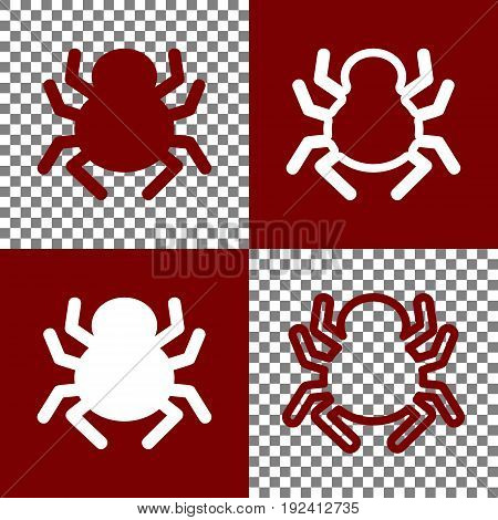 Spider sign illustration. Vector. Bordo and white icons and line icons on chess board with transparent background.