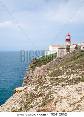 Lighthouse On Cape St Vincent Near Sagres Town