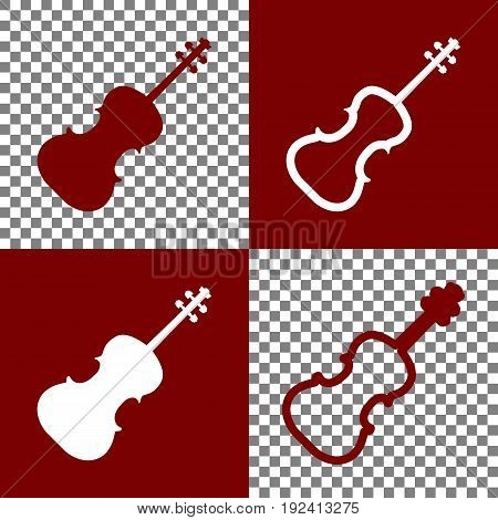 Violin sign illustration. Vector. Bordo and white icons and line icons on chess board with transparent background.