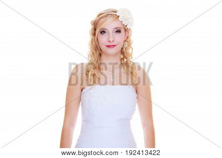 Wedding celebration concept. Happy bride posing for marriage photo waiting for the big day.