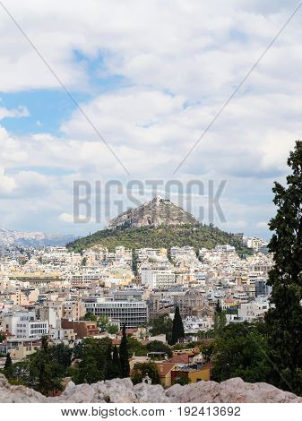 View Of Athens City And Mount Lycabettus