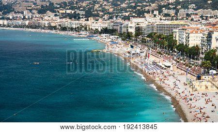 Urban Beach Near Promenade Des Anglais In Nice