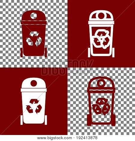 Trashcan sign illustration. Vector. Bordo and white icons and line icons on chess board with transparent background.