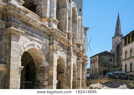 Walls Of Arenes D'arles (roman Amphitheater)