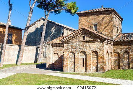Italy Ravenna, view of the Galla Placidia mausoleum.