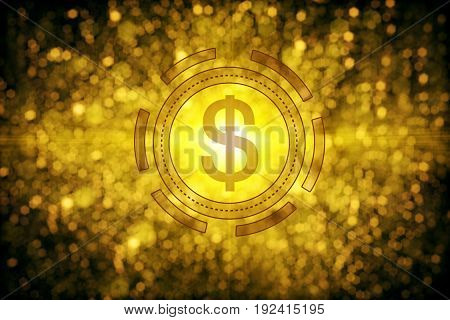 Abstract golden dollar sign on sparkly background. Money concept. 3D Rendering