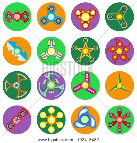 Set of 16 spinners of different shapes a flat style. Vector image on a round colored background. Element of design, interface.