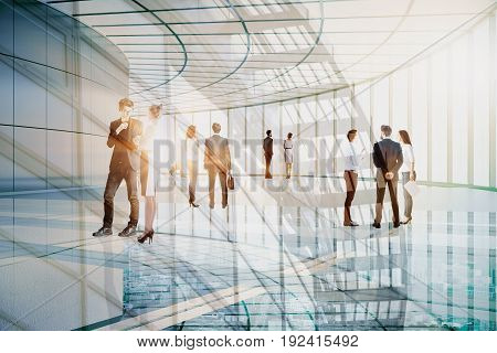 Businessmen and women communicating in transparent glass building. Conference concept. Double exposure