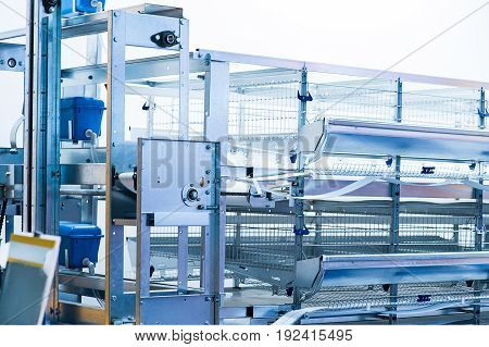 Eggs production incubator inside on animal production place