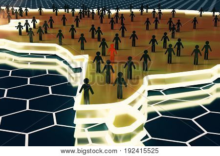 Close up of abstract map with small people/businessmen figures on honeycomb/hexagon patterned background. Recruiting concept. 3D Rendering