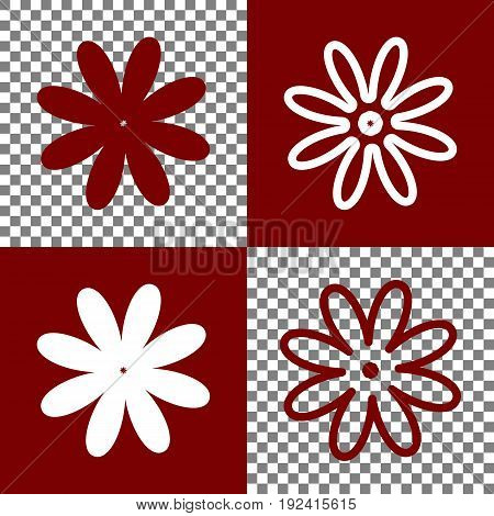 Flower sign illustration. Vector. Bordo and white icons and line icons on chess board with transparent background.