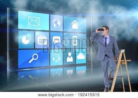 Digital composite of model on ladder