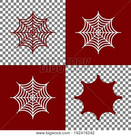 Spider on web illustration. Vector. Bordo and white icons and line icons on chess board with transparent background.
