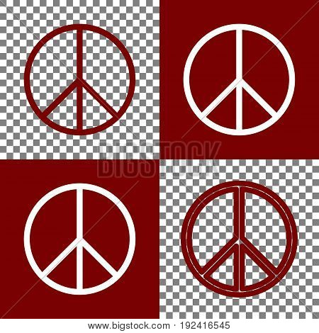 Peace sign illustration. Vector. Bordo and white icons and line icons on chess board with transparent background.