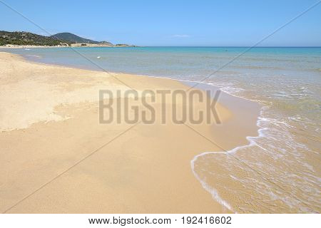 View on the beach Chia with golden sand in Sardinia Italy.
