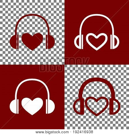 Headphones with heart. Vector. Bordo and white icons and line icons on chess board with transparent background.