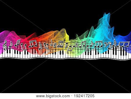 Musical notes on a musical staff on a spectrum ribbon on a black background in vector