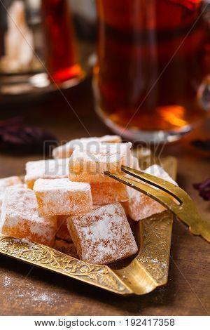 Closeup Traditional Turkish Delights (rahat Lokum)