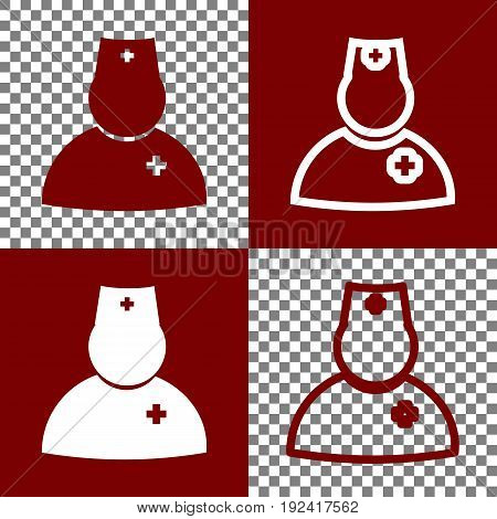 Doctor sign illustration. Vector. Bordo and white icons and line icons on chess board with transparent background.