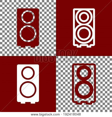 Speaker sign illustration. Vector. Bordo and white icons and line icons on chess board with transparent background.