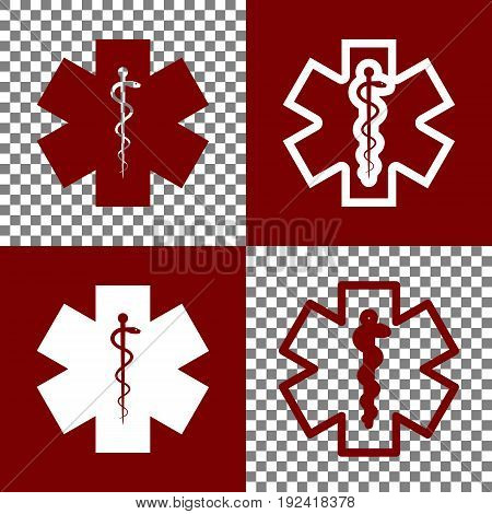 Medical symbol of the Emergency or Star of Life. Vector. Bordo and white icons and line icons on chess board with transparent background.