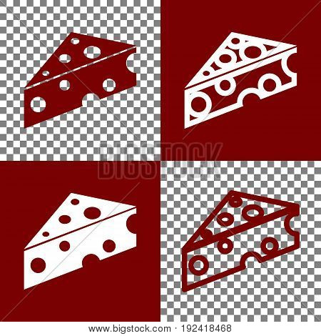 Cheese Maasdam sign. Vector. Bordo and white icons and line icons on chess board with transparent background.