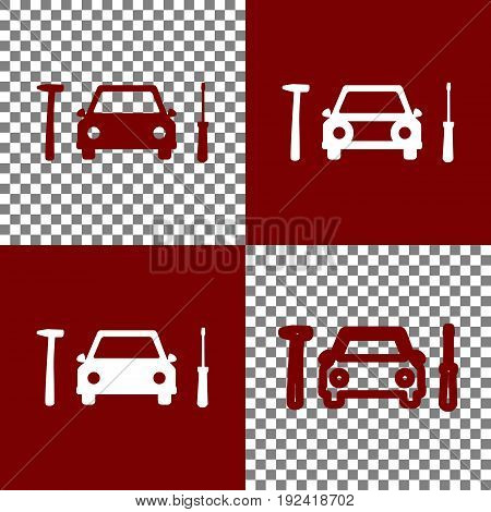 Car tire repair service sign. Vector. Bordo and white icons and line icons on chess board with transparent background.