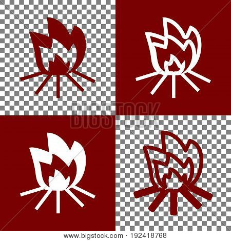 Fire sign. Vector. Bordo and white icons and line icons on chess board with transparent background.
