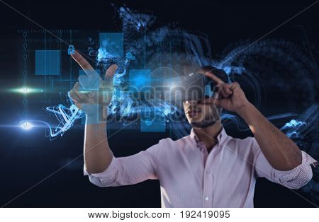 Digital composite of Business man using virtual reality headset