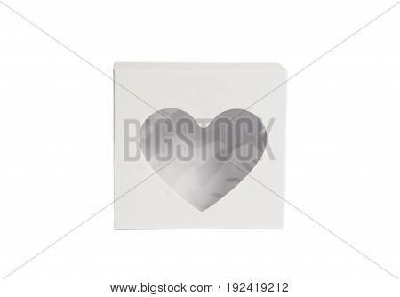 white gift paper heart box isolated on white background