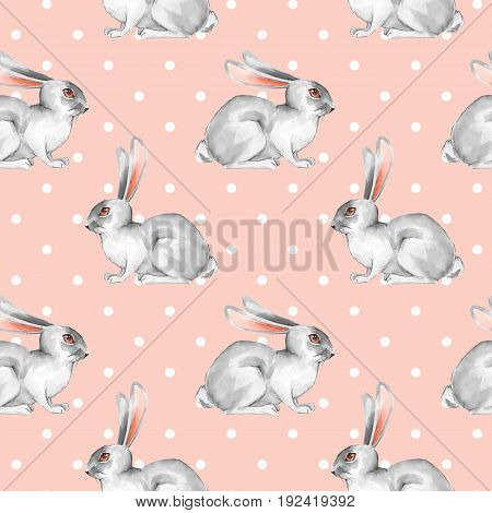 Seamless pattern with white rabbits. Watercolor illustration