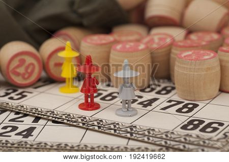 Cards and kegs for Russian lotto (bingo game)