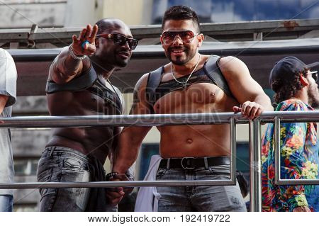 Young Men At Gay Pride Parade Sao Paulo