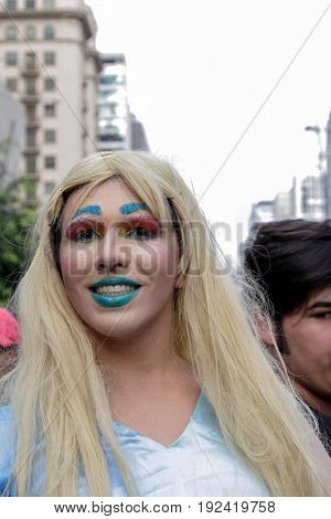 Young Girl At Gay Pride Parade Sao Paulo