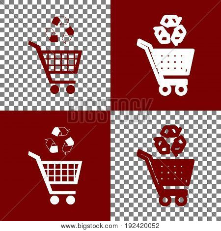 Shopping cart icon with a recycle sign. Vector. Bordo and white icons and line icons on chess board with transparent background.