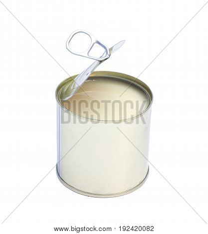 Condensed milk in tin can isolated on white background