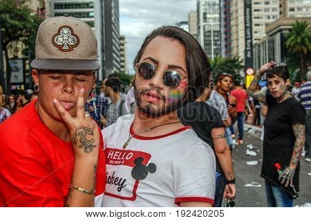Young Girl And A Boy At Gay Pride Parade Sao Paulo