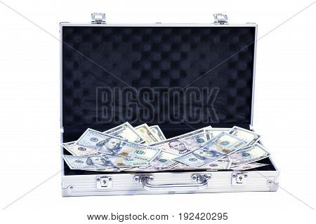 Open silver case with dollars isolated on white background
