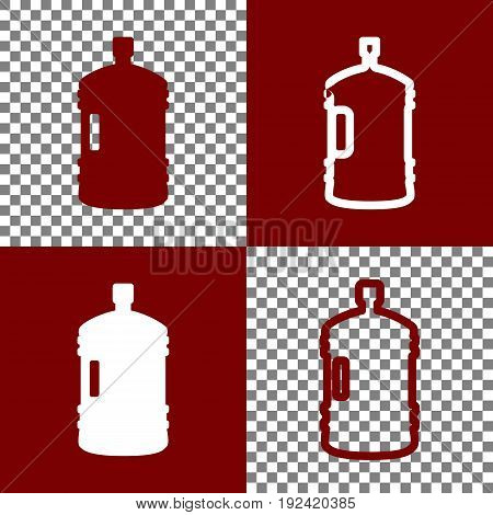 Plastic bottle silhouette sign. Vector. Bordo and white icons and line icons on chess board with transparent background.
