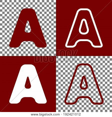 Letter A sign design template element. Vector. Bordo and white icons and line icons on chess board with transparent background.