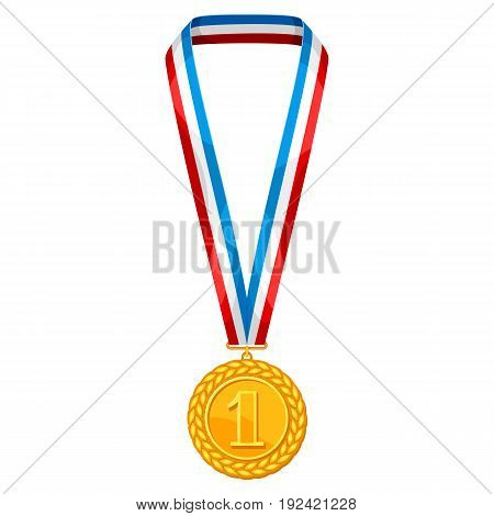 Realistic gold medal with multi colored ribbon. Illustration of award for sports or corporate competitions.