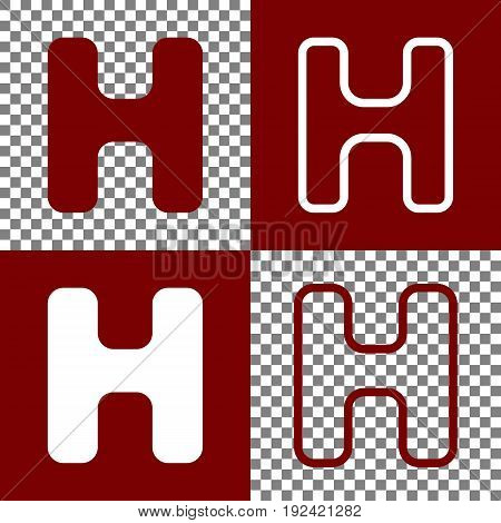 Letter H sign design template element. Vector. Bordo and white icons and line icons on chess board with transparent background.