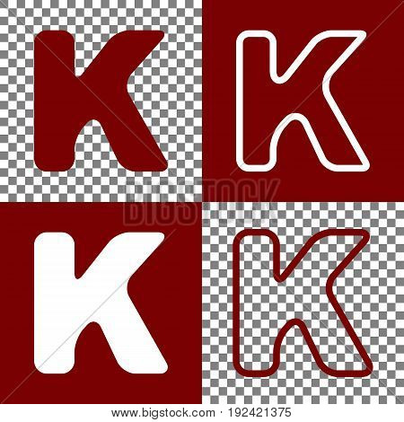 Letter K sign design template element. Vector. Bordo and white icons and line icons on chess board with transparent background.