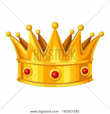 Realistic gold crown with red rubies. Illustration of award for sports or corporate competitions.
