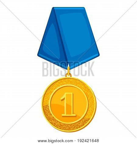 Realistic gold medal with blue ribbon. Illustration of award for sports or corporate competitions.